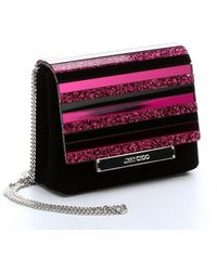 Jimmy Choo Black and Hot Pink Suede and Crystal Acrylic Cleo Convertible Clutch - Lyst