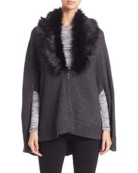 Three Dots | Faux Fur-trimmed Poncho | Lyst