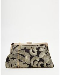 Chi Chi London - Chi Chi Brocade Clip Top Clutch Bag In Black & Gold - Lyst