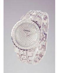 Bebe - Crystal Encrusted Link Watch - Lyst
