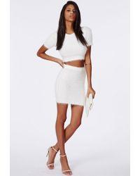 a07b243fb Missguided - Ashlyn Fluffy Knit Mini Skirt Cream - Lyst