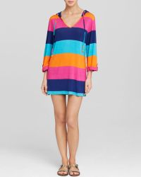 Macbeth Collection - Stripe Swim Hooded Cover Up Tunic - Lyst