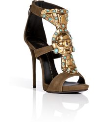 Giuseppe Zanotti Suede Sandals With Embellished Front In Military - Lyst