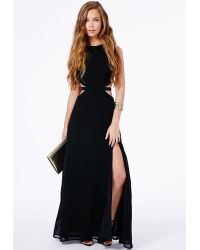 Missguided Anthea Cut Out Split Maxi Dress In Black - Lyst