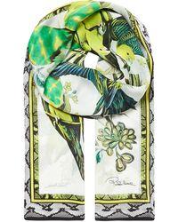 Roberto Cavalli Patterned Silk Scarf - Lyst