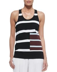 Stella McCartney Striped Contrast Pocket Tank Top - Lyst