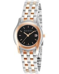 Gucci Women'S Women Two-Tone Stainless Steel Black Dial - Lyst