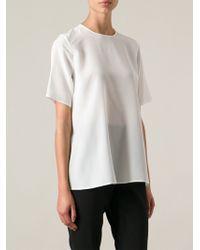 Dolce & Gabbana White Draped Blouse - Lyst