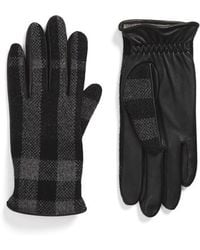Burberry - 'oscar' Woven Check Wool & Leather Gloves - Lyst