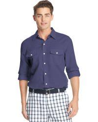 Izod Linen-blend Double Pocket Shirt - Lyst