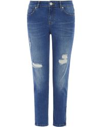 Oasis Isabella Ripped Skinny Crop - Lyst