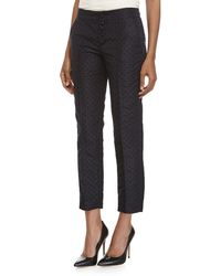RED Valentino Polka-Dot Ankle-Crop Pants - Lyst