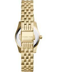 Michael Kors Petite Golden/Pink Stainless Steel Lexington Three-Hand Watch - Lyst