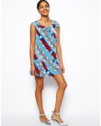 Love Moschino Silk Smock Dress in Peace and Love Print - Lyst