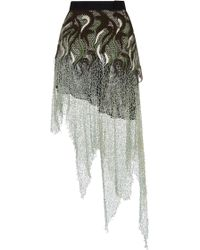 Rodarte Embroidered Lace Skirt with Hand Crochet Sea Foam Metal Net and Swarovski Crystals - Lyst