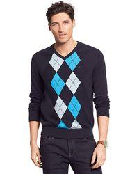 Tommy Hilfiger Argyle V Neck Sweater - Lyst