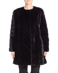 The Fur Salon | Collarless Mink Fur Diagonal Coat | Lyst