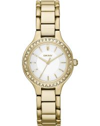 DKNY Chambers Goldplated Pvd Watch Silver - Lyst