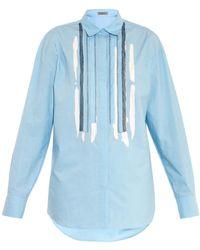 Bottega Veneta Mesh And Bleach-Detail Cotton Shirt - Lyst