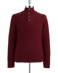 Calvin Klein Ribbed Button Placket Pullover - Lyst