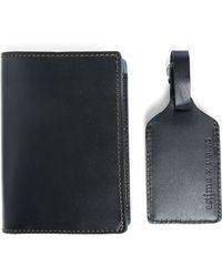 M.studio | Navy Leather Estime X Passport Holder/luggage Tag Pckt 11 | Lyst