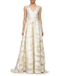 Lela Rose Sheer-Back Metallic Space-Dyed Gown gold - Lyst