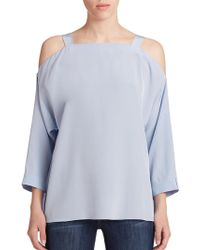 Tibi Heavy Silk Cold-Shoulder Blouse blue - Lyst