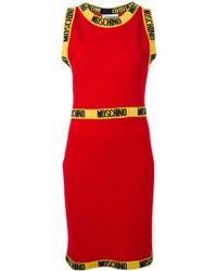 Moschino Logo Trim Pencil Dress - Lyst