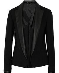 Theory Leandria.Classical Leather-Trimmed Blazer - Lyst