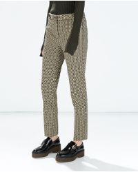 Zara Patterned Trousers with Button - Lyst