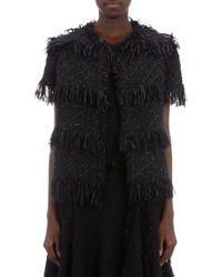 Lanvin Fringed Tweed Shortsleeve Jacket - Lyst