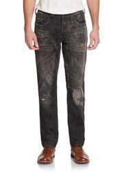 True Religion Geno Distressed Slim-straight Jeans - Lyst