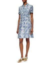 Tory Burch Short-Sleeve Textured Jacquard Shirtdress - Lyst