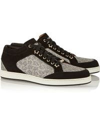 Jimmy Choo Miami Glitter-finished Canvas and Suede Sneakers - Lyst