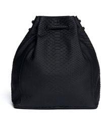 Zagliani Pompadour Matte Python Bucket Bag - Lyst