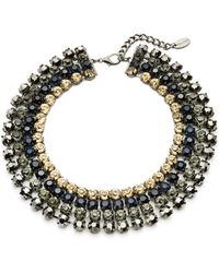 Cara - Four Row Headlight Stone Collar Necklace - Lyst
