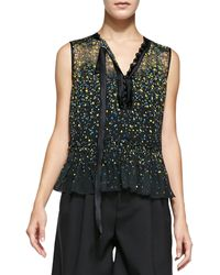 Marc Jacobs Sleeveless Floral Blouse W Asymmetric Tie - Lyst