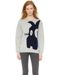 McQ by Alexander McQueen Classic Bunny Sweatshirt - Grey Melange/Navy blue - Lyst