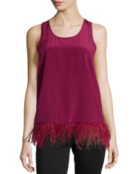 Madison Marcus Feather-trim Tank - Lyst