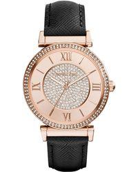 Michael Kors Ladies Caitlin Rose Gold Tone Glitz Watch - Lyst