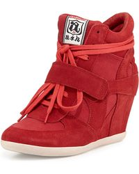 Ash Bowie Suede Wedge Sneaker - Lyst