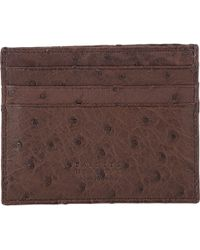 Barneys New York Ostrich Card Case - Lyst