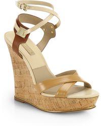 Michael Kors Shana Strappy Leather Cork Wedge Sandals beige - Lyst