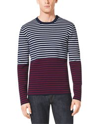 Michael Kors Striped Cotton And Cashmere Sweater - Lyst