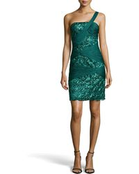 Sue Wong Draped Embellished Sheath Dress - Lyst