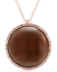 Roberto Marroni - 18kt Rose Gold Surround Necklace With Smoky Quartz And Brown Diamonds - Lyst