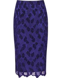 Reiss Joliet Floral Lace Pencil Skirt - Lyst
