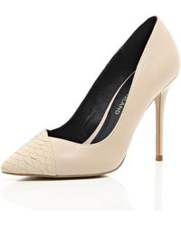 River Island Light Pink Contrast Toe Cap Point Court Shoes - Lyst