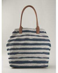 Burberry Blue Striped Tote - Lyst
