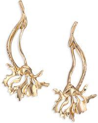 Oscar de la Renta | Crystal Carnation Drop Earrings | Lyst